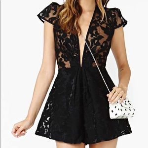 Nasty Gal Cameo Lace See Through Romper